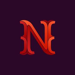 N letter logo in elegant retro faceted style.