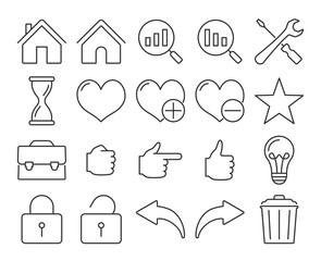 Modern line style icons: User interface. Set #2