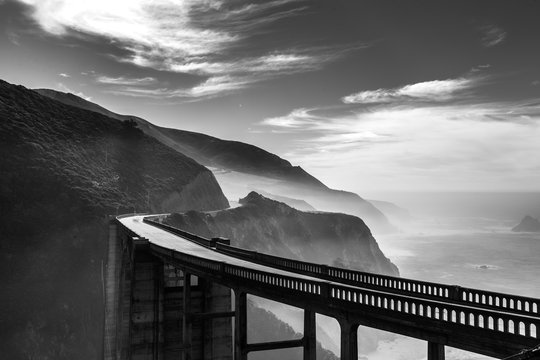 Scenic ocean view point at Big Sur,highway 1 coastline scenic ro