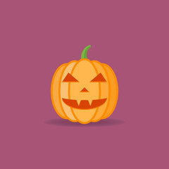 Halloween pumpkin flat style icon. Vector illustration.