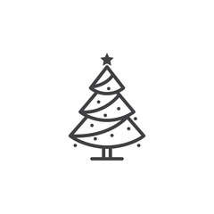 Christmas tree line icon, decorated conifer outline vector sign, linear pictogram isolated on white. spruce logo illustration