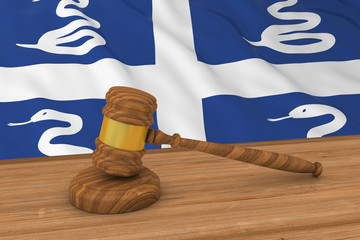 Martinican Law Concept - Flag of Martinique Behind Judge's Gavel 3D Illustration