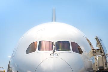 jet aircraft nosecone and cockpit closeup