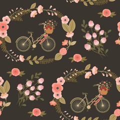 Shabby chic seamless floral pattern
