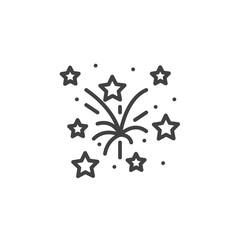 Fireworks line icon, outline vector sign, linear pictogram isolated on white. logo illustration