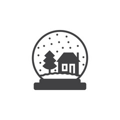 Snow globe icon vector, filled flat sign, solid pictogram isolated on white, logo illustration