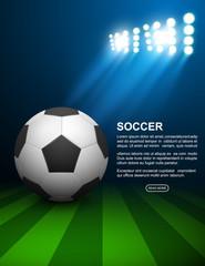 Soccer ball on field, vector illustration