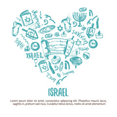 I love Israel t-shirt design. Israelsymbols in the shape of heart on white background. Grunge vector illustration with lettering