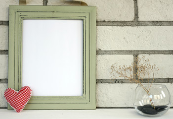 Empty picture in frame shabby chic, vintage style. Scandinavian style home interior decoration. Copy paste image.