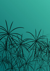 Paper reed detailed silhouettes in nature background