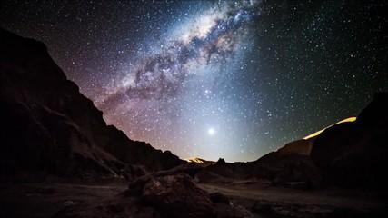 star trails in Atacama desert Chile