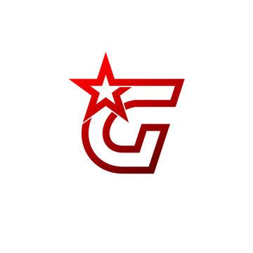 Letter G logo,Red star sign Branding Identity Corporate unusual logo design template