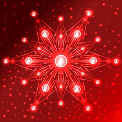 Illuminated red star with lights on its rays on red gradient background with sparkles