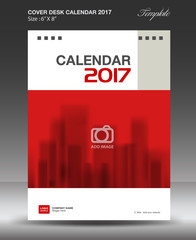 Cover Desk calendar 2017 year, Red cover design Size 6x8 inch vertical
