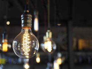 Decorative light bulbs on beautiful background