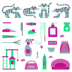 Set of sign cat accessories. Vector pet supplies. Animal equipment care grooming tools and food, domestic feline