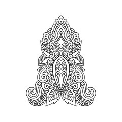 Vector ornamental floral, ethnic art, patterned Indian paisley. Hand drawn illustration. Invitation element. Tattoo, astrology, alchemy, boho and magic symbol.