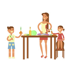 Happy family concept. Mother with kids making dinner. Housewife and children cooking. Boy and girl help adults to cook healthy food on kitchen interior background. Vector illustration