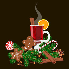 Mulled wine with spices and gingerbread