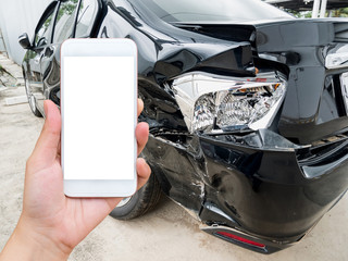 female hold mobile smartphone with car accident