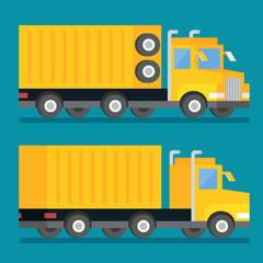 Heavy transport shipping truck. Transportation delivery icon. Flat design vector illustration.