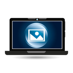 laptop blue display picture social media vector illustration eps 10