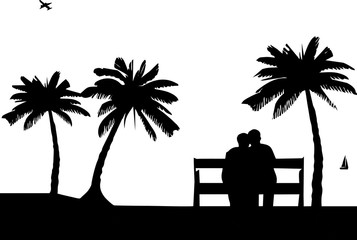 silhouette-romantic couple sitting on under tree and kissing with beautiful scenery