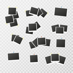 Set of Realistic vector photo frame on sticky tape. Template photo design. Polaroid on transperent