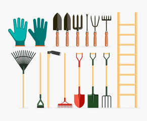 Set of garden tools and gardening items. Vector illustration fla