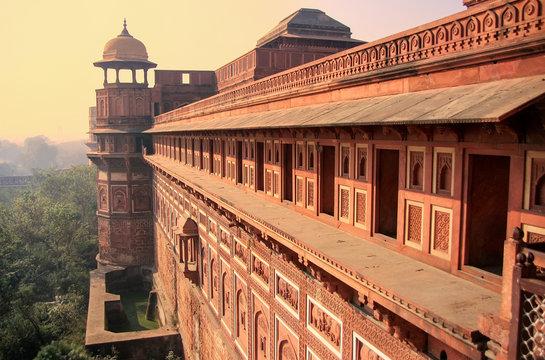 Exterior of Jahangiri Mahal in Agra Fort, Uttar Pradesh, India