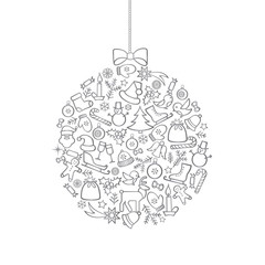 Christmas background with Ball Doodle Decor Elements. Happy Wintner Holiday Greeting Card