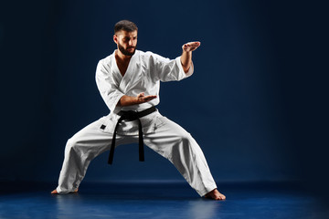 Karate man in a kimono standing in a fighting stance on a blue background