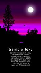 Colorful background for flyer or website design. Neon lights. Moonlight. Violet, pink and black tones.
