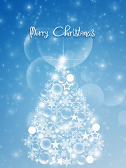 Christmas elegant card with snow and fir trees