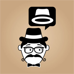 hipster style hat with vintage color background vector illustration eps 10
