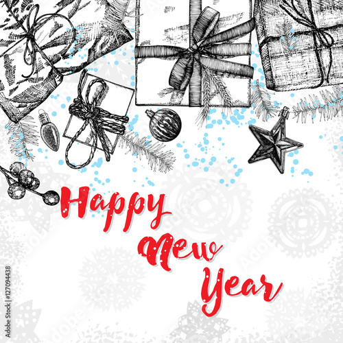 Happy New Year. Greeting card with calligraphy. Hand drawn design ...