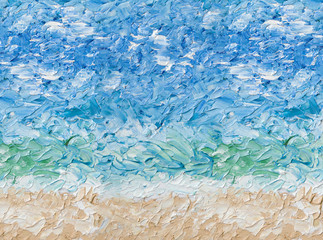 Summer abstract oil painting background. Sky, clouds,sea,beach. Palette knife oil paint.