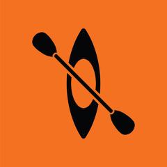 Kayak and paddle icon