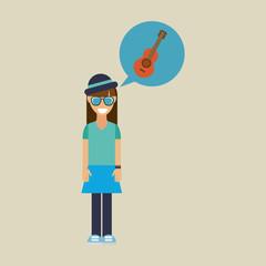 hipster girl guitar music retro color vintage vector illustration eps 10