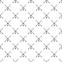 Crossed baseball bats and ball pattern. Simple illustration of baseball bats and ball vector pattern for web