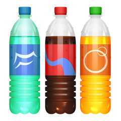 Bottles of soda drinks. Vector illustration.