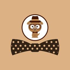 hipster dog symbol bow tie design vintage background vector illustration