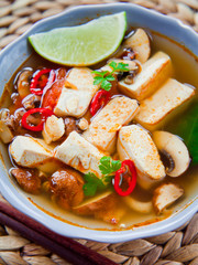 Vegan Asian delicious soup with tofu and mushrooms.