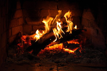 fire in fireplace/ fire in fireplace