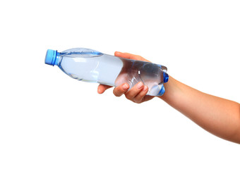 woman hand with bottle of water