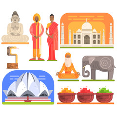 Famous Touristic Attractions To See In India. Traditional Tourism Symbols Of Indian Culture Including Clothing, Architecture And Religious Habits