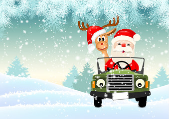 Santa with his reindeer driving a car through winter landscape, illustration