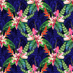 Seamless tropical floral pattern. Hand painted watercolor exotic plants: flowers of heliconia and bromelia, pink lilies, calathea leafs on blue monochrome floral background. Textile design.