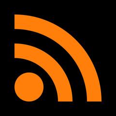 Orange Web Rss Feed Sign. Square Shape Icon On Black Background. Vector Illustration 10 EPS