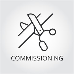 Simple black icon of scissors cutting the tape. Commissioning concept